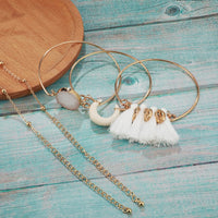 Golden Stone Cotton Tassel Charm Bracelet Boho Bohemian Accessories