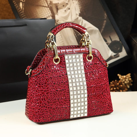 Luxury diamonds Crocodile pattern leather shell rhinestone Handbags