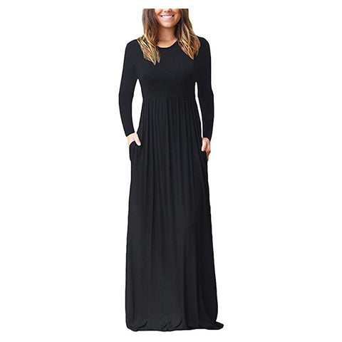 Loose Straight O Neck Elegant Maxi Long Sleeve Dress