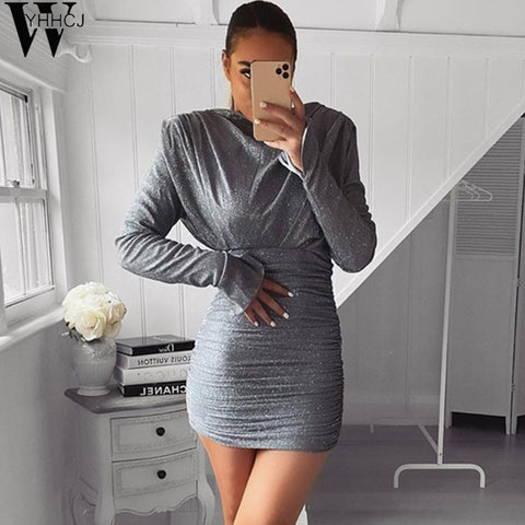 slit sequin ruched sexy mini long sleeve dress