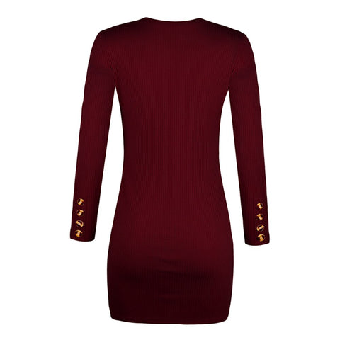 Sexy Bodycon With Button Slit Casual Long Sleeve Dress