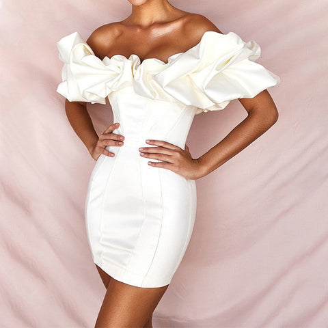 High Waist Ruffle Off Shoulder Short Sleeveless Mini Dress
