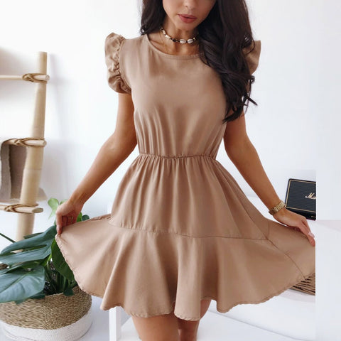 Solid Ruffles Butterfly Sleeve O Neck A line Mini Dress