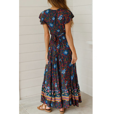 Floral Long Casual Print V Neck Maxi Dresses