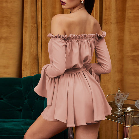 Sexy Solid Word Collar Long Sleeve Bow Mini Off Shoulder Dress