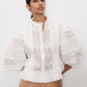 White lace Cotton Floral Embroidery Puff Sleeve boho blouse shirt