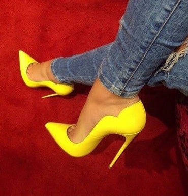 Sexy Pointed Toe Yellow Patent Leather Shallow Stiletto Heels