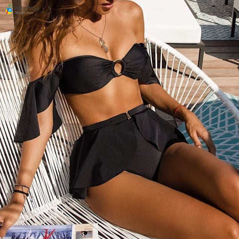 Sexy Off Shoulder High Waist Sexy Bikini