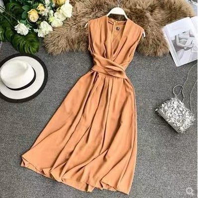 Sexy V Neck Sleeveless French Chic Cross Drawstring Slim Waist Office Dress