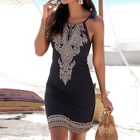 Halter Neck Boho Sleeveless Casual Mini Print Dress