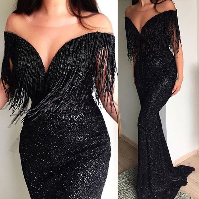 Sequin Tassel Off Shoulder Sexy Deep V Neck Black Dress