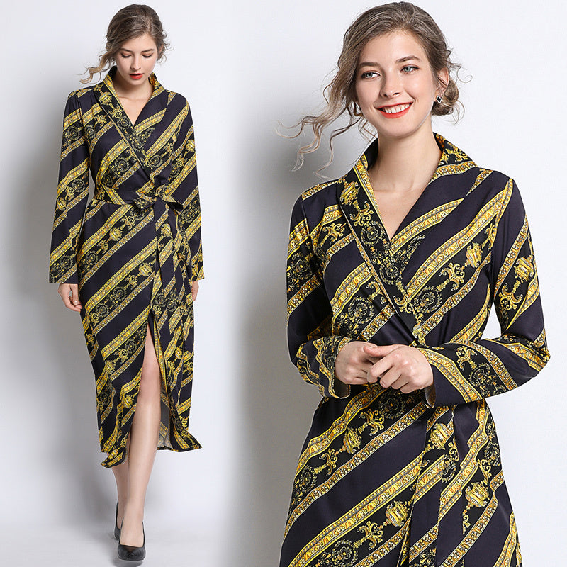 Fall Runway Baroque Print Lapel V Neck Belt Sashes Long Sleeve Wrap Dress