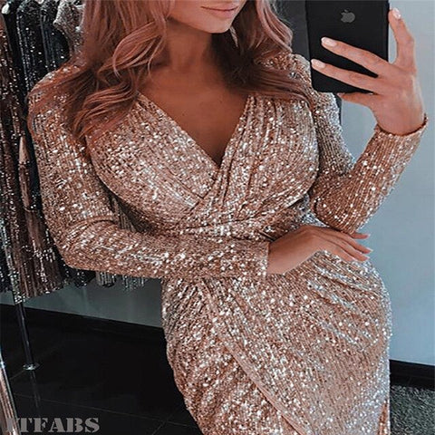 Casual Slim Solid Sequin Deep V Neck Long Wrap Dress
