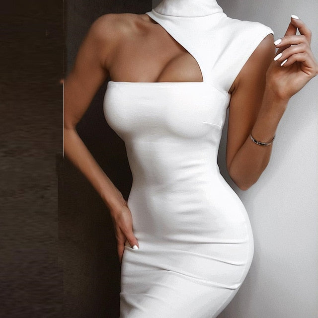 sexy midi Solid One Shoulder Hollow Out white dress
