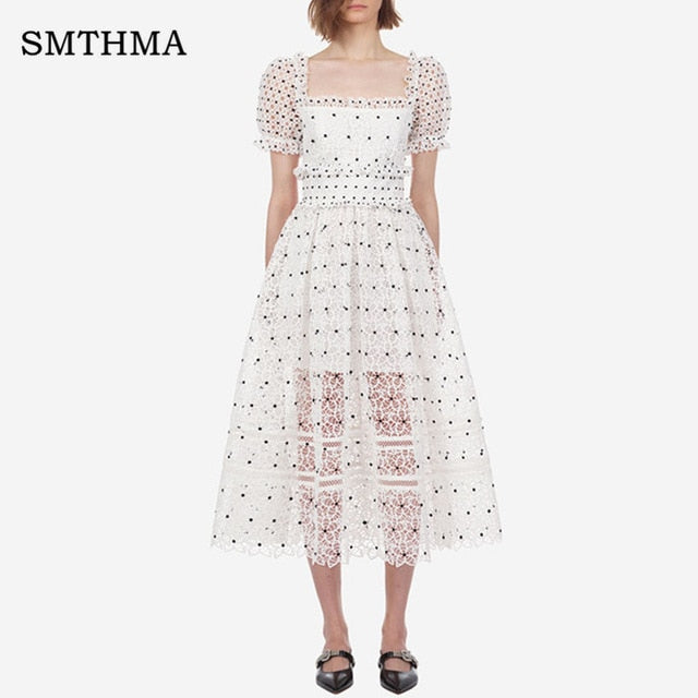 High Quality self portrait runway vintage Flare sleeve lace sexy white Dress