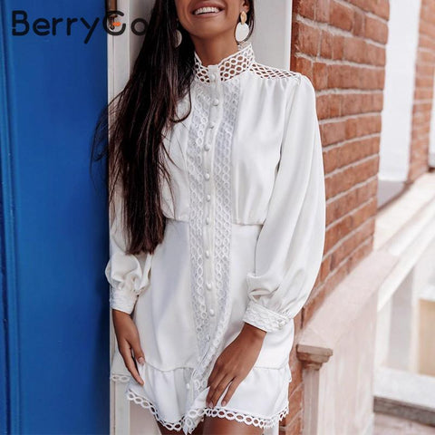 Mermaid hollow out white dress