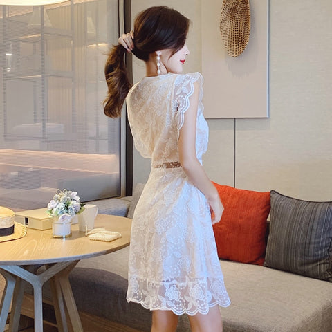 Lace Print Sexy Hollow Out Mini White Dress