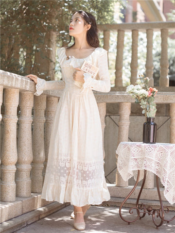 French Embroidered Sweet Vintage Dresses