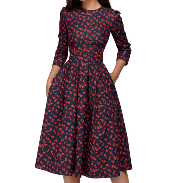 Floral Elegant Midi Three Quarter Sleeves Vintage Dresses
