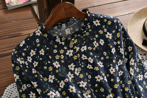 Long Sleeve Floral Print Corduroy Navy Blue Flower Vintage Dress