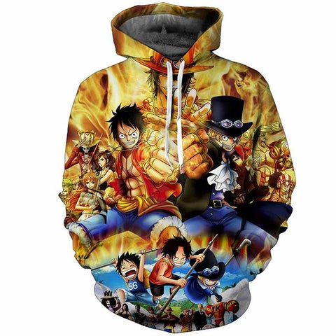 Anime 3D One Piece Luffy Print Hoodie