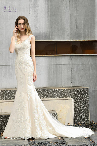 V Neck Mermaid Lace And Applique Beading Gowns Wedding Dresses