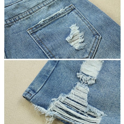Korean Style Slim Ripped Hole Casual Pockets Short Denim