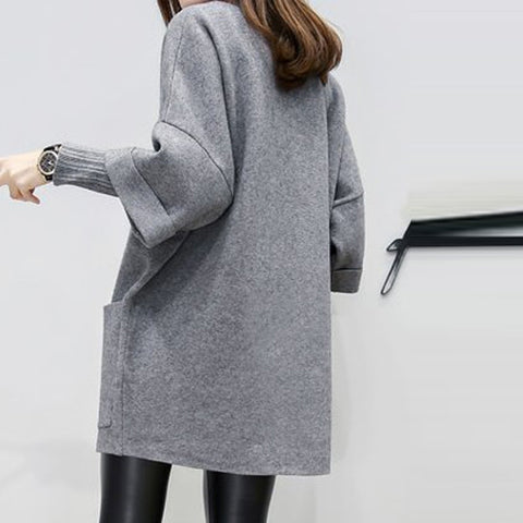 O Neck Fake Two Piece Long Sleeve Pocket Pure Color Casual Dresses