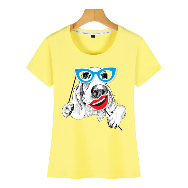 funny dog with a glasses White Print T shirt