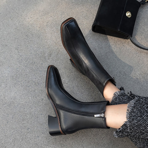 Square Toe Solid European Elegant Solid High Heel Ankle Boots