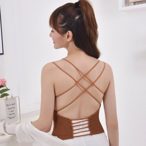 Backless Sexy Camisole Cross Beauty Back Wrapped Chest Stretch Solid Tank Top