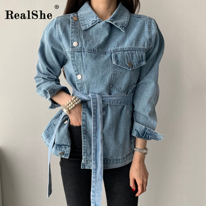 Lapel Long Sleeve Buttons Sashes Denim Jacket