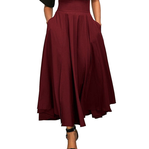 High Waist Pleated Front Slit Belted Maxi Skirt