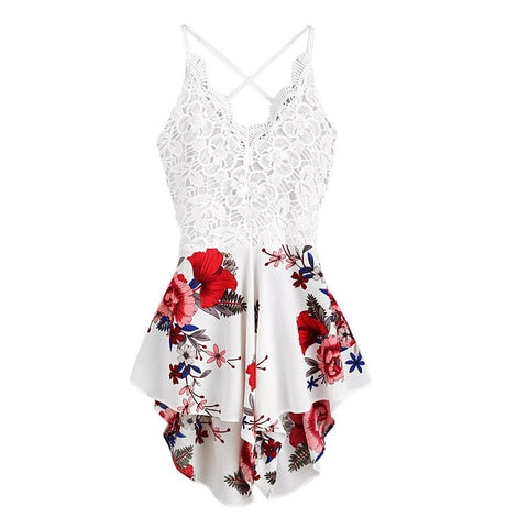 Lace sexy Crochet Bow Tie Backless Floral Boho Bohemian Rompers