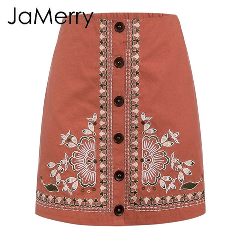 Vintage floral embroidery short A line button Boho Bohemian Skirts