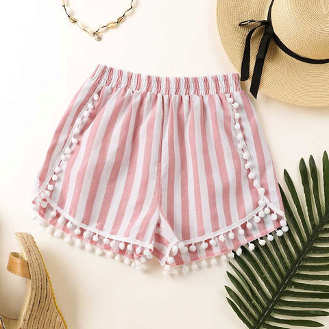 Stripes Casual  high waist Loose Pompon Boho Bohemian Shorts