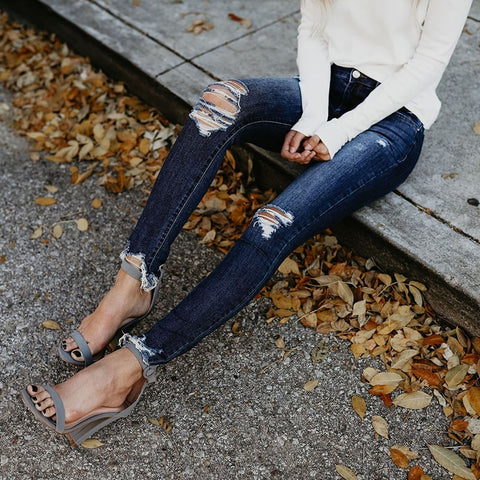 Cotton Ripped Long Waist New Pencil Jeans