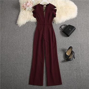 Deep V neck Sexy Solid Color Straight Jumpsuits