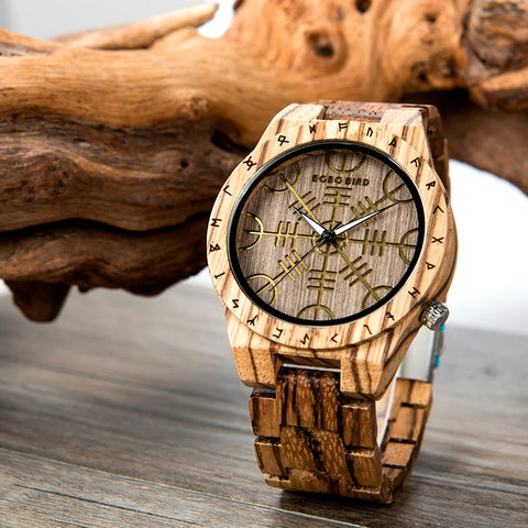 Runic Circle with Golden Helm of Awe Wood Watch