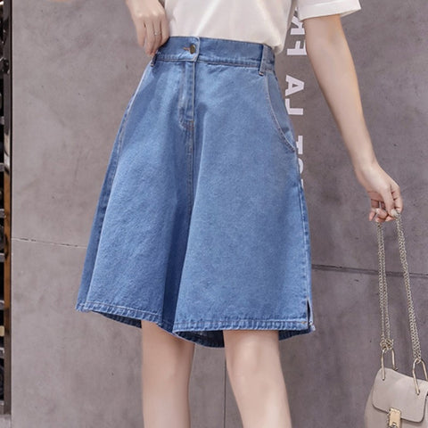 Knee Length Loose High Waist Wide Leg A Line Short Denim