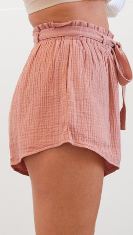 Pop Tide Nice Lace Up Casual Belt Solid Loose Shorts