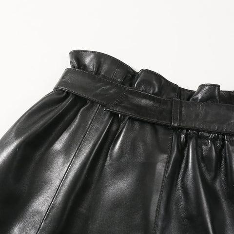 High Waist Black Leather Version of The Thin Wide Leg High Waist Shorts