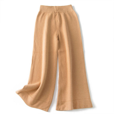 Knitted Ankle Length Elastic Waist Solid Wide Leg Pants