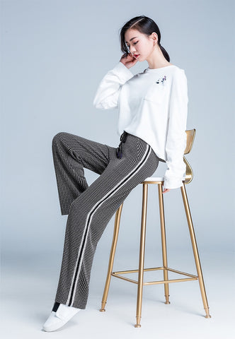 Knitted Sweatpants Loose Drawstring Wide Leg Casual Full Length High Waist Pants