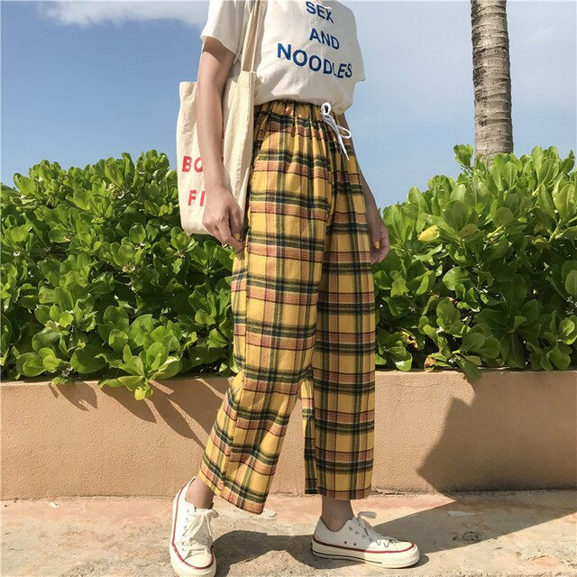 Japanese Style Yellow High Waist Tie Stripe Plaid Cotton Pants