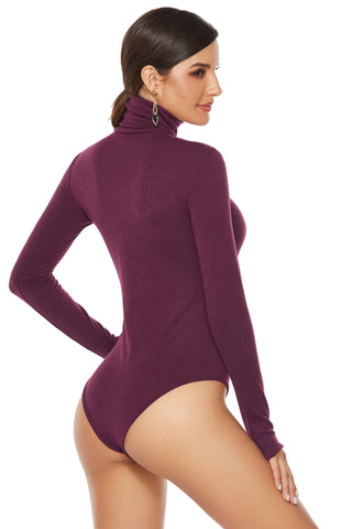 Turtleneck Long Sleeve Knitted Sexy  Bodysuit