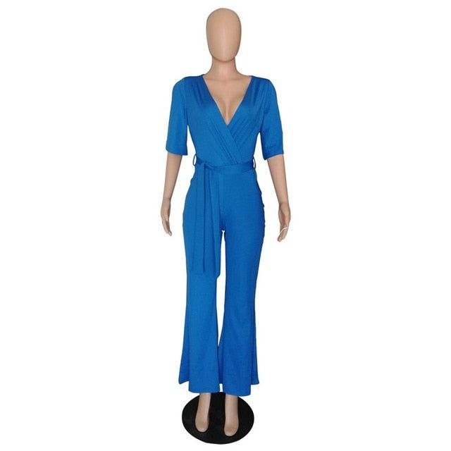 Lace Up Wide Leg Solid Casual Off Shoulder Sexy V Neck Jumpsuit