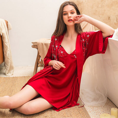 Sexy Night Robe Strap Top Sleepwear