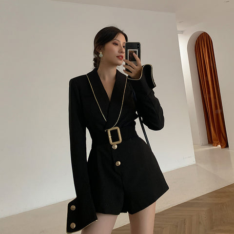 High quality runway golden belt long sleeve Rompers