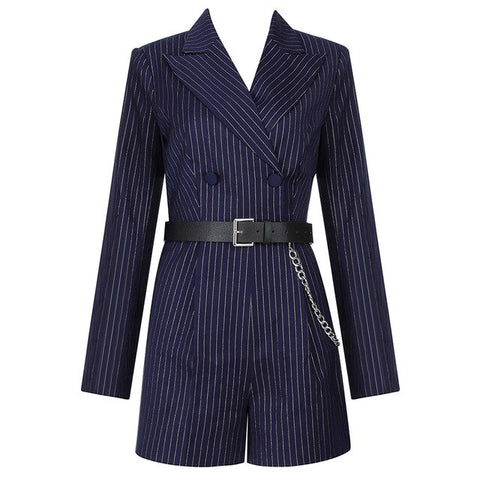 Lapel Long Sleeve Double Button Belt Belt Striped Sexy Rompers